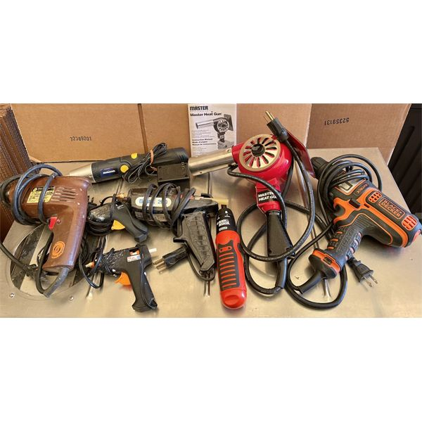 JOB LOT OF TOOLS - GLUE / HEAT GUNS, DRILLS