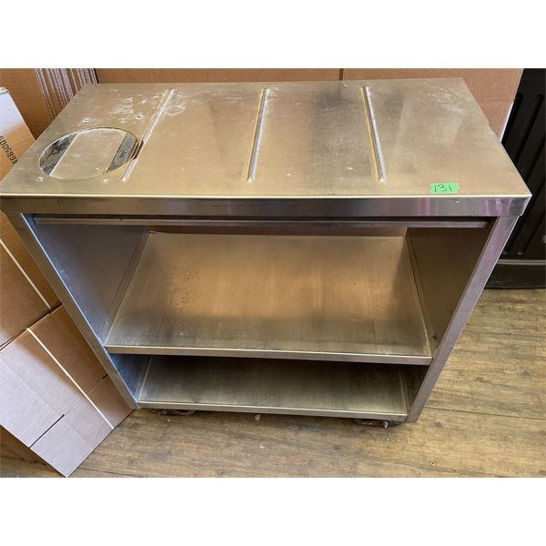 """STAINLESS STEEL ROLLING SHOP CART - 32"""" X 16"""" X 36"""" H"""
