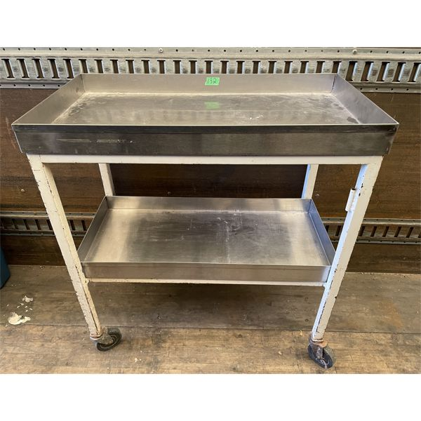 """STAINLESS STEEL ROLLING SHOP CART - 33"""" X 17"""" X 36"""" H"""