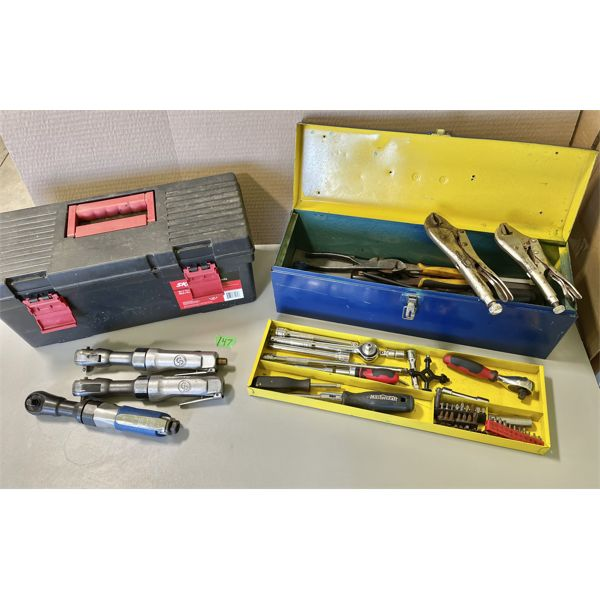 LOT OF 2 TOOL BOXES W/ CONTENTS - 3 X AIR RATCHETS, HAND TOOLS.