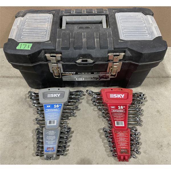 PLASTIC TOOL BOX W/ 2 X WRENCH SETS