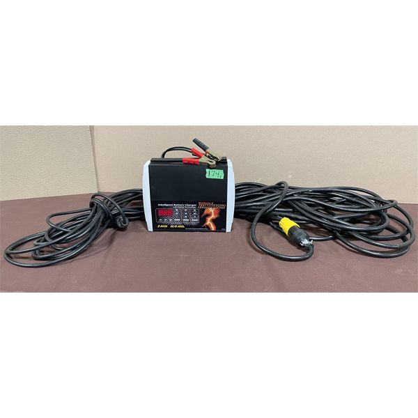 BATTERY CHARGER - AS NEW & 2 X EXT CORDS