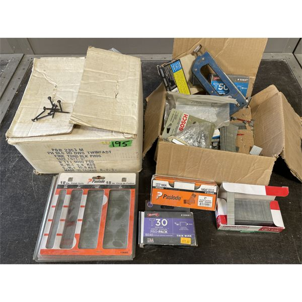 LOT LOT OF FASTENERS - SCREWS, STAPLES, NAILS, ETC