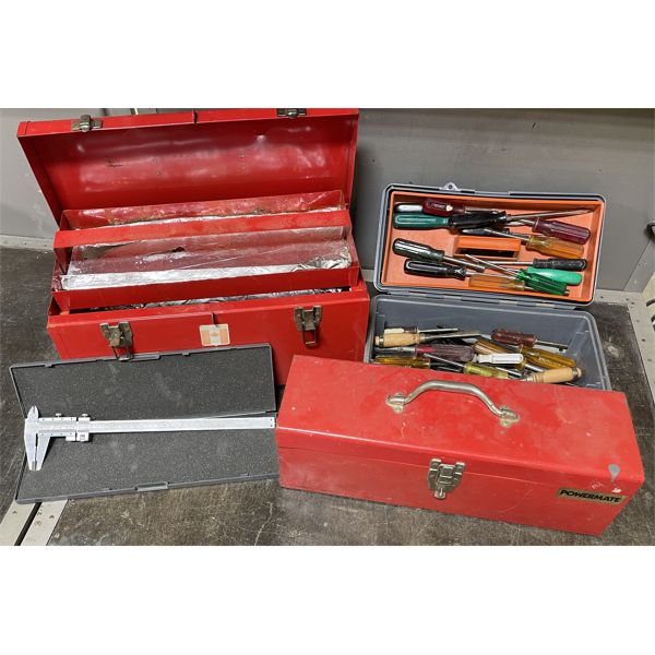 LOT OF 3 TOOL BOX W/ SOME CONTENTS - DRIVERS, VERNER CALIPERS