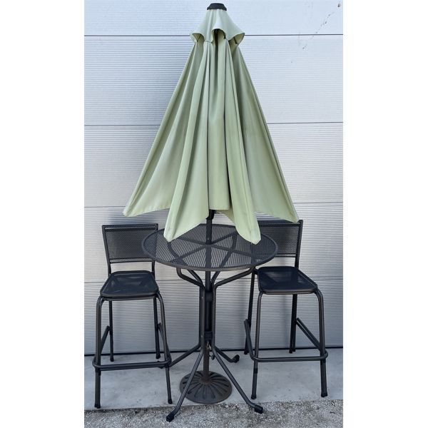 BISTRO STYLE POWDER COATED METAL PATIO SET - TABLE, 4 CHAIRS, UMBRELLA & STAND