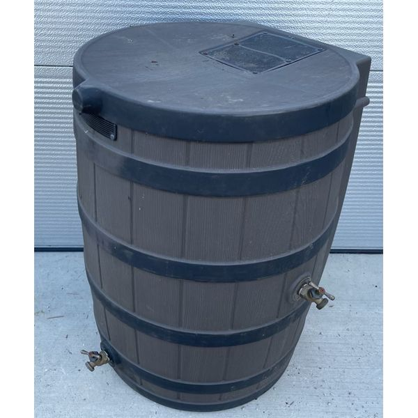 POLY RAIN BARREL WITH SPOUTS - APPROX 45 GAL