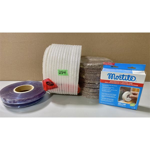 JOB LOT - STRAPPING, PACKING FOAM, SNDING DISCS, WEATHER SEALER
