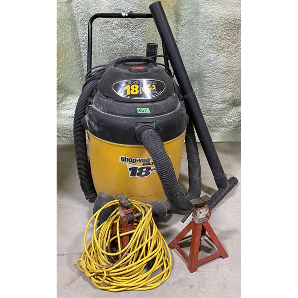 LOT OF 3 - 18 GAL SHOP VAC, SAFETY STANDS, EXT CORD
