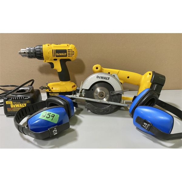 LOT OF 2 DEWALT CORDLESS TOOLS - DRILL, SAW & EAR PROTECTION