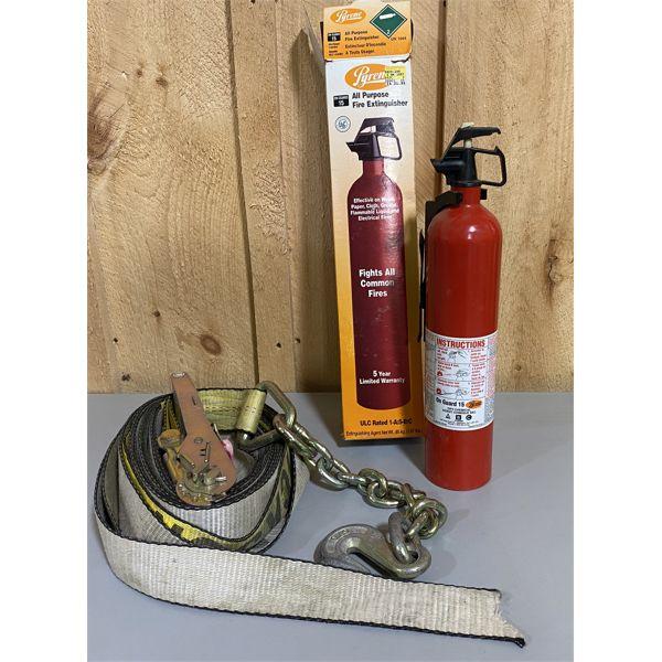 TIE DOWN RACHET STRAP & FIRE EXTINGUISHER