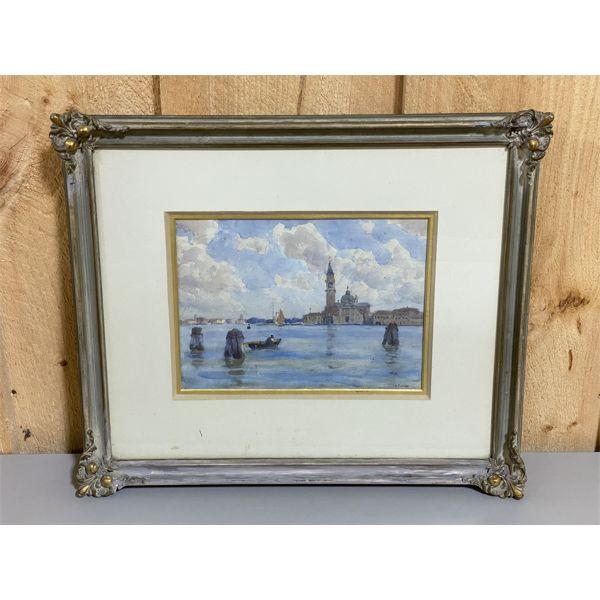 JOSEPH HENRY VIGNOLES FISHER 1864 - 1945 - VENICE IN WATERCOLOUR - 8 X 11 INCHES