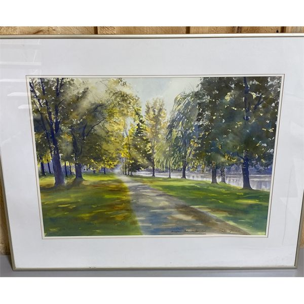 MARTIN ZIMMER 1930 - 2005 WATERCOLOUR TITLED SPRINGBACK PARK - 20 X 27 INCH