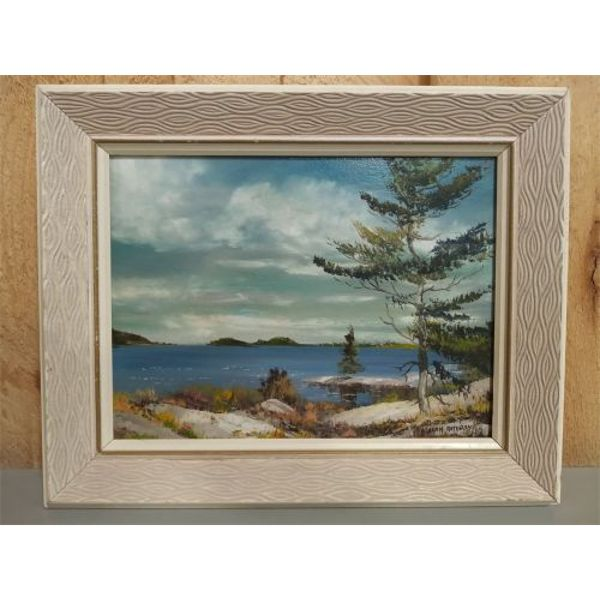 A. RATHBONE. 'VIEW OF GEORGIAN BAY' OIL ON BOARD - 8.5 X 11.5 INCHES