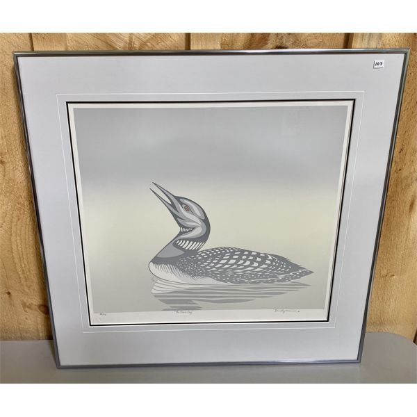 D. MORRISON - NUMBERED PRINT 38 OF 70 - THE LOONS CRY 1987 - 16 X 18 INCHES