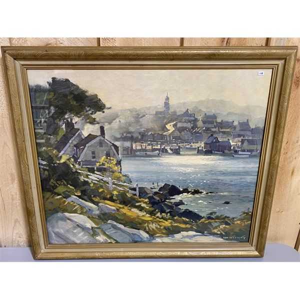 T. KAUTZKY - REPRODUCTION OIL OF CAPE ANN HARBOUR - 24 X 29.5 INCHES