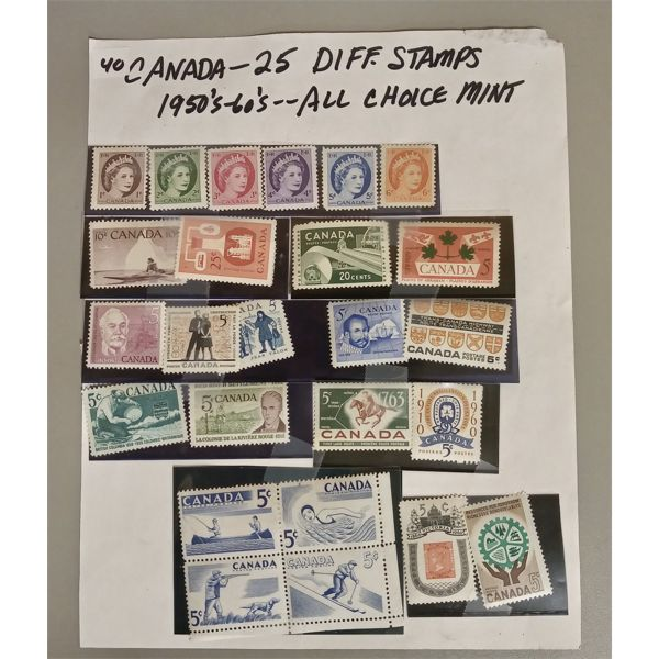 1950 - 1960's STAMPS - MISC CANADIAN - APPROX 25