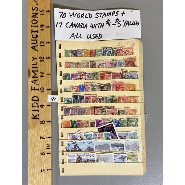 LOT OF 70 MISC STAMPS INCLUDING 17 X CANADIAN STAMPS
