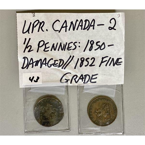 1850 AND 1852 - UPPER CANADA 1/2 PENNIES