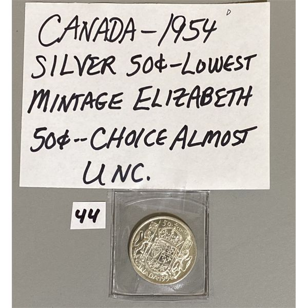 1954 - CANADIAN 50 CENT PIECE