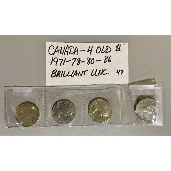 1971 / 78 / 80 / 86 - LOT OF 4 CANADIAN  ONE DOLLAR COINS