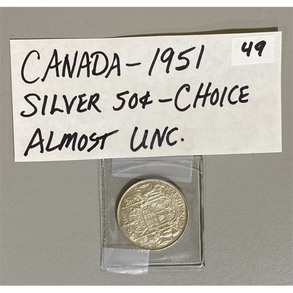 1951 - CANADIAN SILVER 50 CENT PIECE