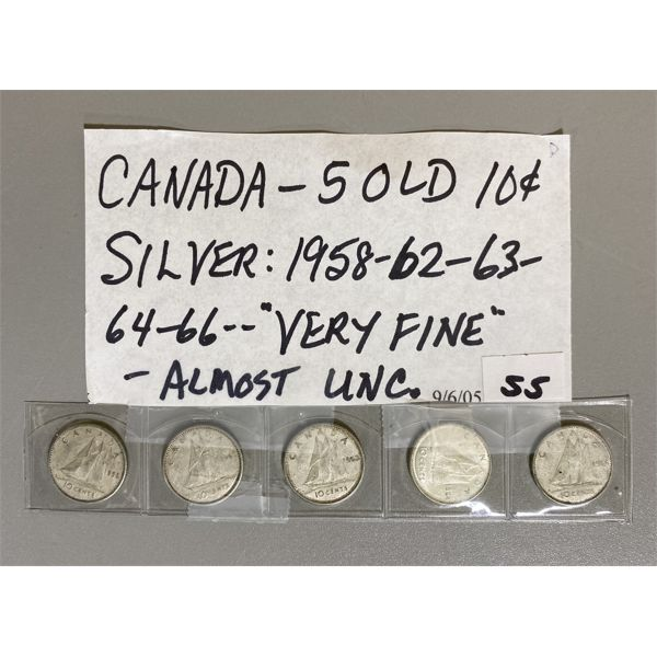 1958 / 62 / 63 / 64 / 66 - LOT OF 5 CANADIAN 5 CENT PIECES