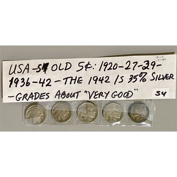 1920 / 1927 / 1929 / 1936 / 1942 - LOT OF 5 USA 5 CENT PIECES