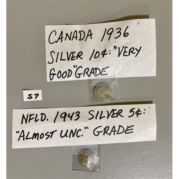 1943 - NFLD SILVER 5 CENT PIECE AND 1936 10 CENT PIECE