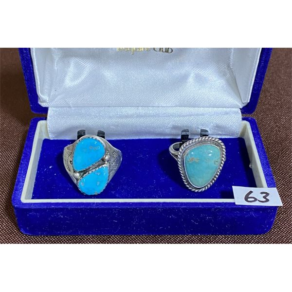 LOT OF 2 SILVER & TURQUOISE RINGS W/ NO PROOF MARKS - SZ 7 3/4, 9 1/4