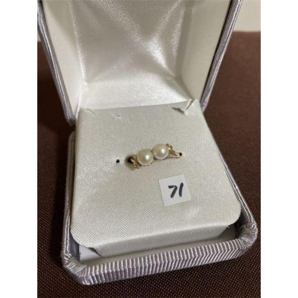 CULTURED PEARL 10 K GOLD RINGS - SZ 8