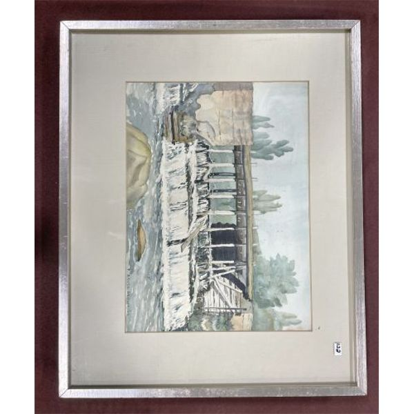 F. BRUCE BROWN - CHALETON MILL DAM - WATERCOLOUR ON BOARD - 10 X 14 INCHES