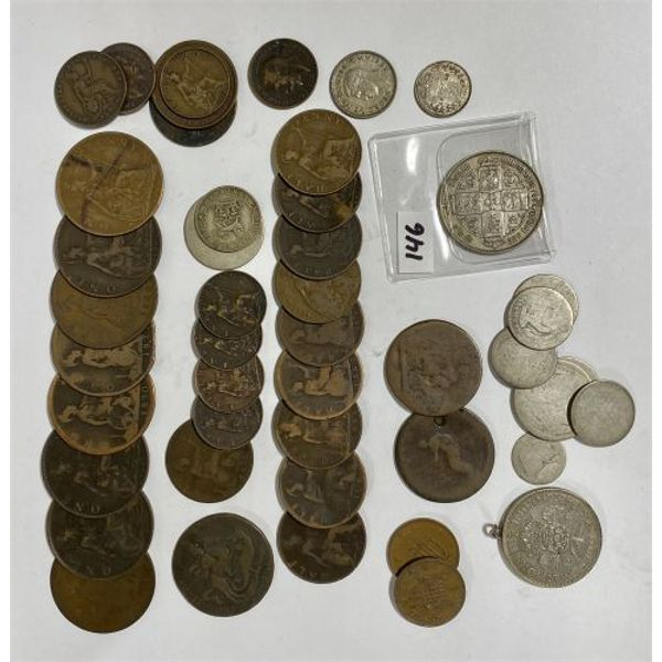 LOT OF APPROX 45 BRITISH COINS