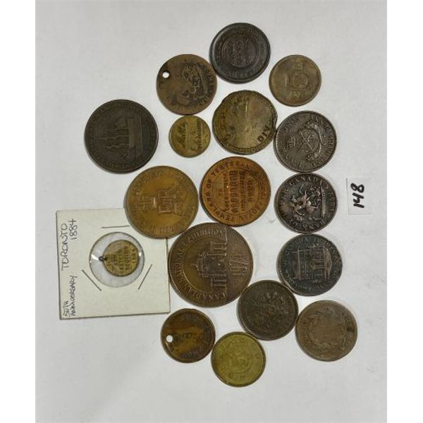 LOT OF 17 TOKENS, COUNTERSTAMPED COINS ETC.