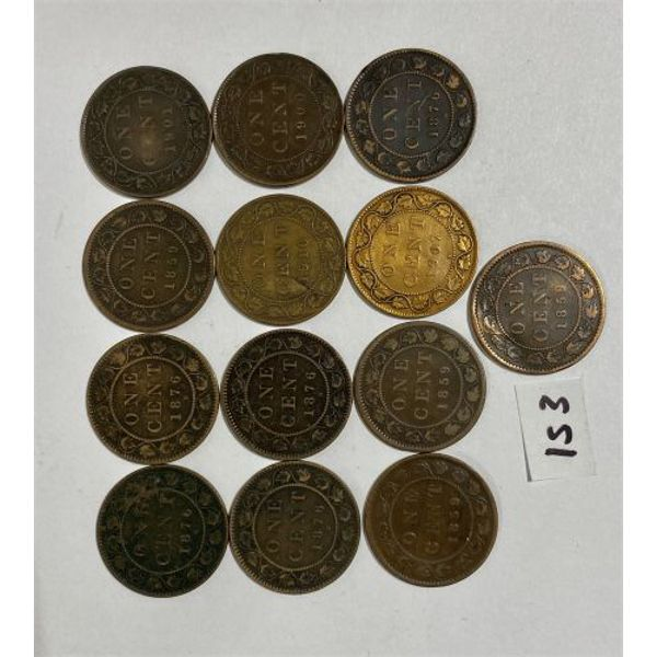 LOT OF 13 CANADA LARGE CENTS
