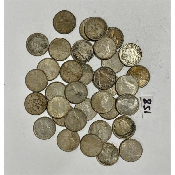 LOT OF CANADA SILVER 10 CENT COINS