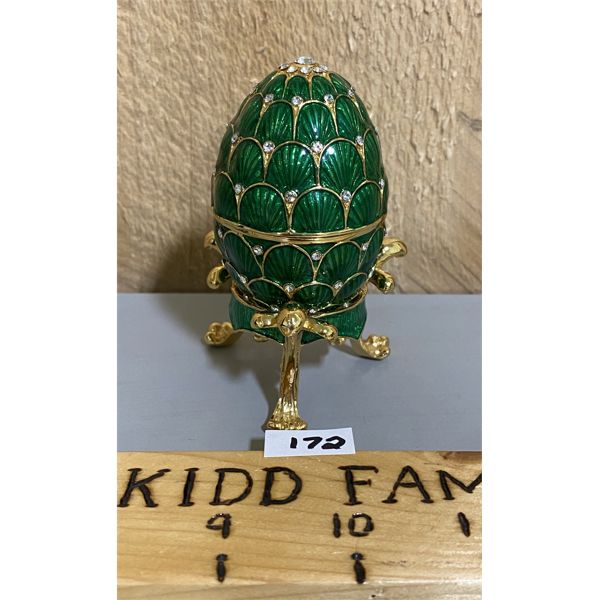 FABERGE STYLE GREEN GOLD EGG ON STAND