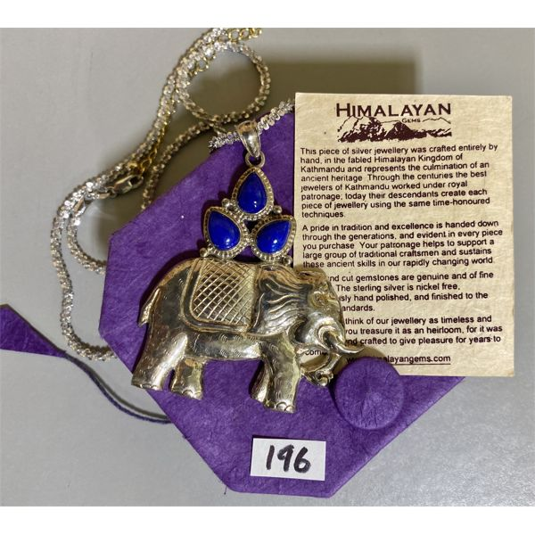 HIMALAYAN GEMS HANDCRAFTED SILVER ELEPHANT NECKLACE