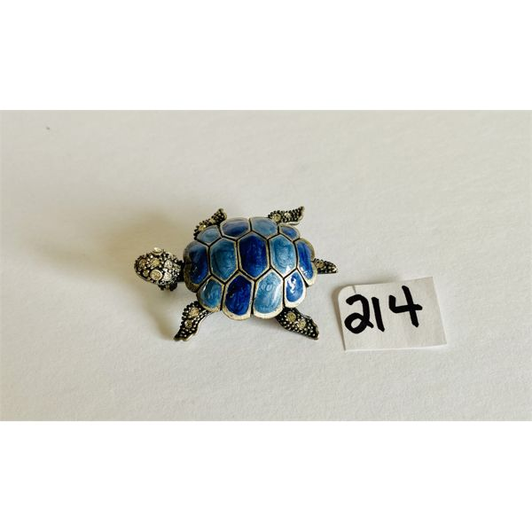 TURTLE PIN SET IN BLUE POLISHED ROCK & RHINESTONES