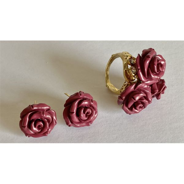 DESIGNER SET - ROSE & GOLD RING WITH MATCHING EARRINGS