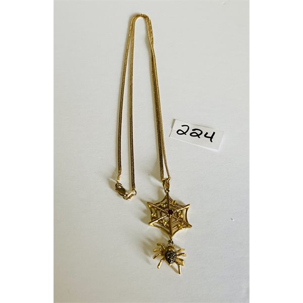 SPIDER & WEB 10 K GOLD NECKLACE - 24 INCH CHAIN