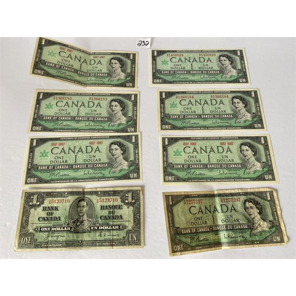 LOT OF 8 CANADIAN ONE DOLLAR BILLS - 1967 / 1954 / 1937 - CIRCULATED