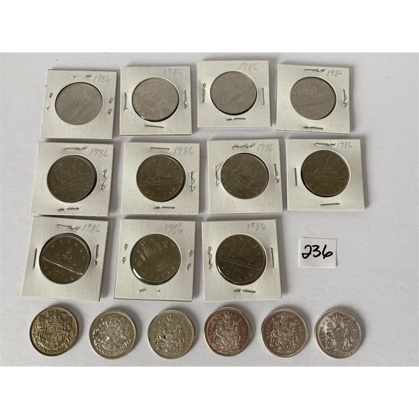 LOT OF 11 CANADIAN 1986 DOLLAR COINS & 6 CND FIFTY CENT COINS 1951 TO 1965