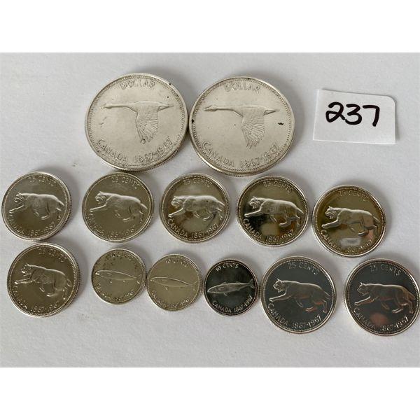 CND 1967 COINS - 2 X DOLLAR, 8 X 25 CENTS, 3 X 10 CENTS