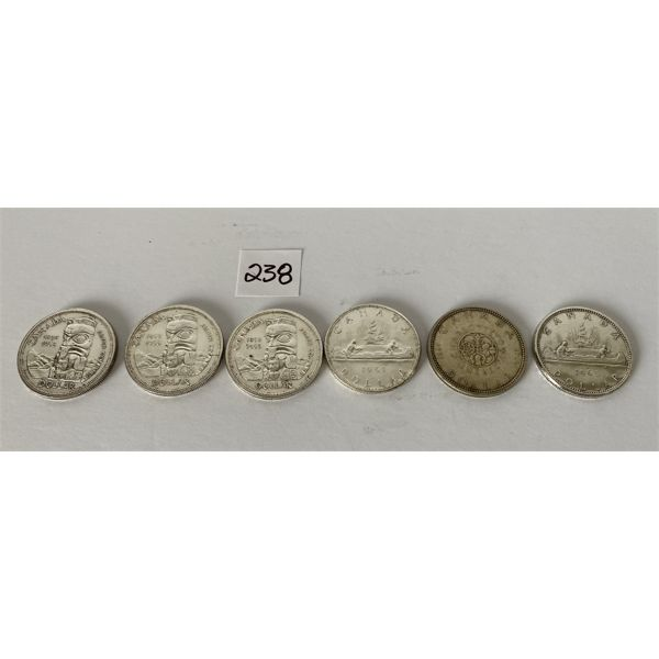 LOT OF 6 CANADIAN SILVER DOLLARS - 1958 / 1961 / 1964 / 1965