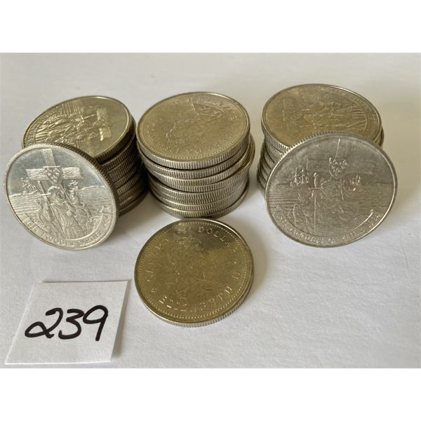 LOT OF 30 CND 1984 ONE DOLLAR COINS