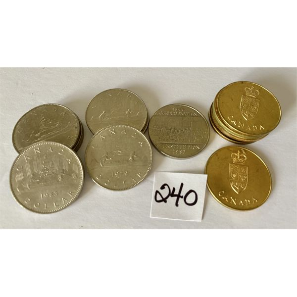 LOT OF 15 CND ONE DOLLAR COINS