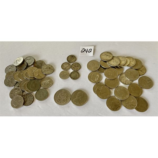 QTY OF CND COINS - 5 CENTS, 10 CENTS, 25 CENTS, 50 CENTS