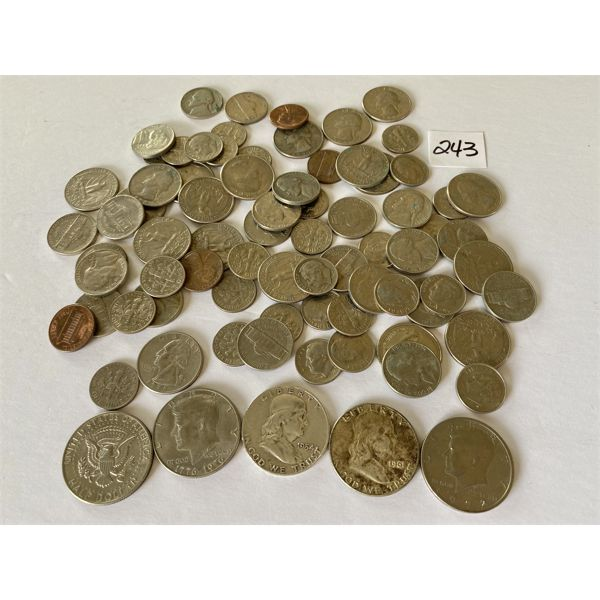 QTY OF MISC US COINS - INCLUDES 1954 & 1961 LIBERTY HALF DOLLARS