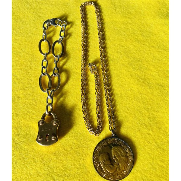 "MOTHER'S DAY PENDANT ON 30"" GOLD CHAIN WITH FOREVER / LOVE LOCK BRACELET"