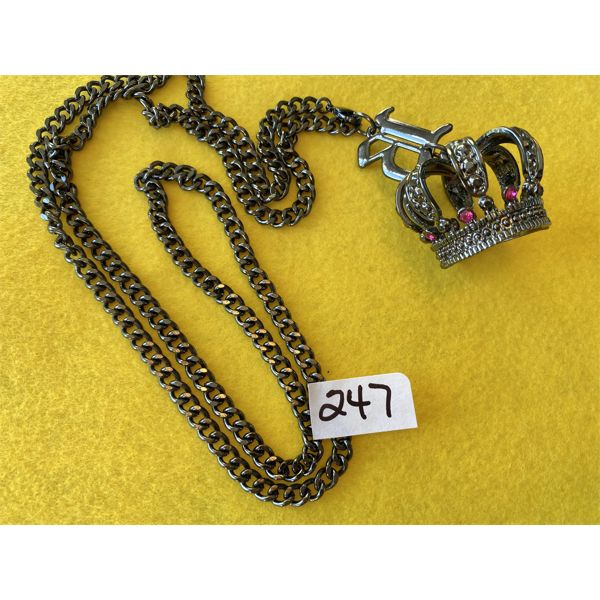 BLACK JEWEL CROWN NECKLACE WITH 30 INCH CHAIN